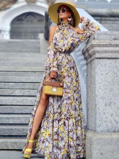 Fashion Off shoulder Halt Long sleeve Maxi Dresses