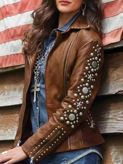 Plus size women chic rivet long sleeve turn down neck jackets