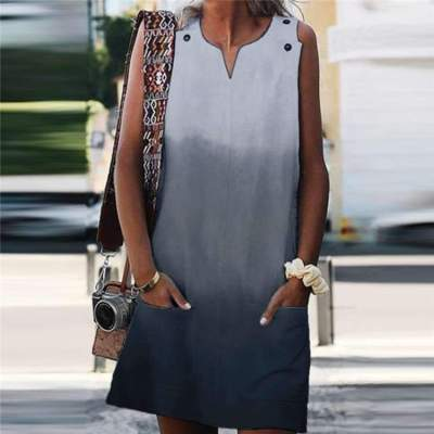 Casual V neck Gradient Sleeveless Pocket Shift Dresses