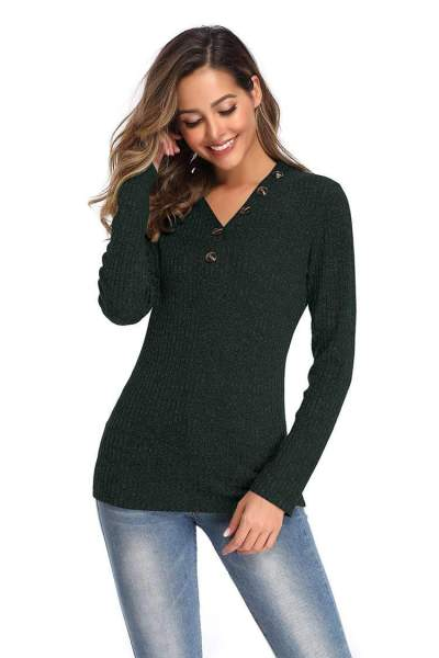 Pure Knit Fastener V neck Long sleeve Sweaters