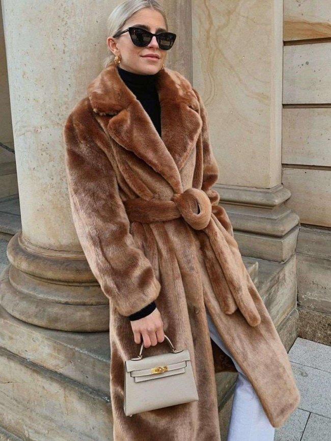 Loose Pure Plush Lacing Coats