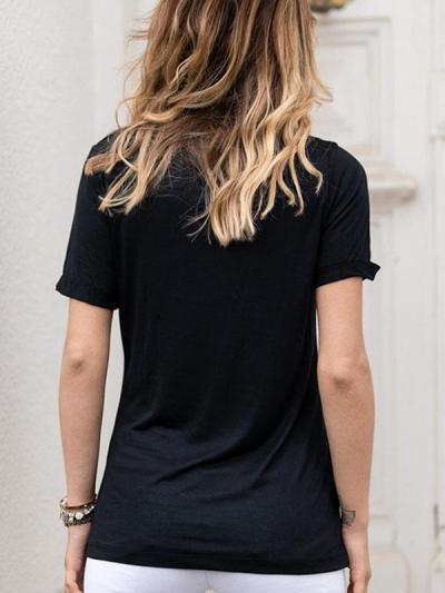 Casual daily printed v neck short sleeve T-shirts