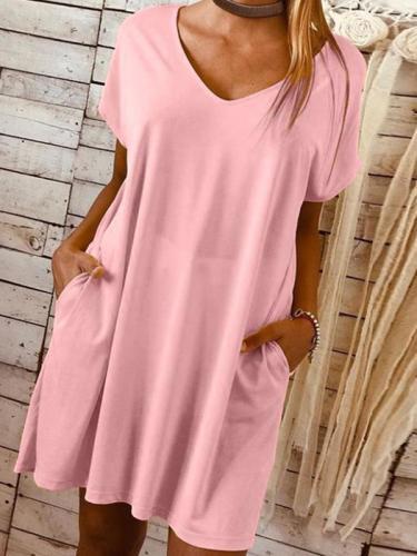 Short sleeved large size solid colour loose shift dresses