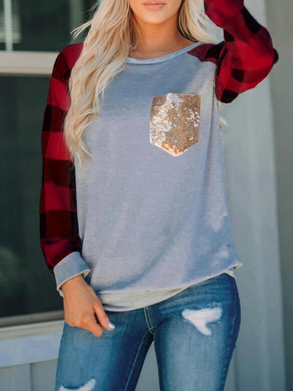 Round neck long sleeve pocket T-shirts for women