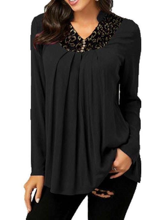 Fashion V neck Long sleeve Gored T-Shirts