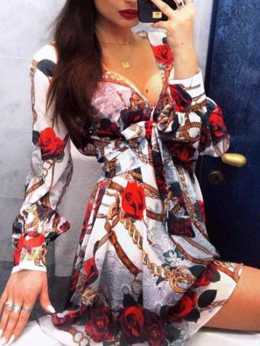 Fashion Print Long sleeve V neck Skater Dresses