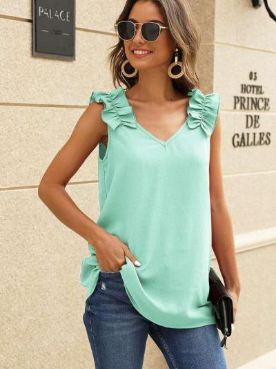 Pure V neck Sleeveless T-Shirts