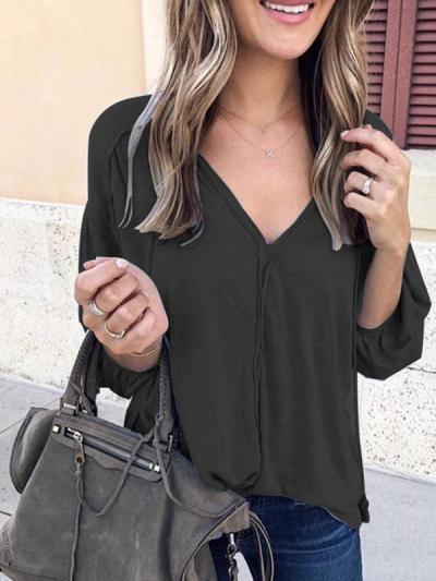 V Neck Long Bubble Sleeve Plain Elegant T-shirt