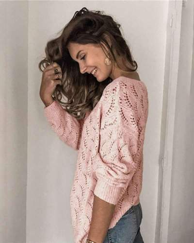 Casual Pure Hollow out V neck Long sleeve Knit Cardigan