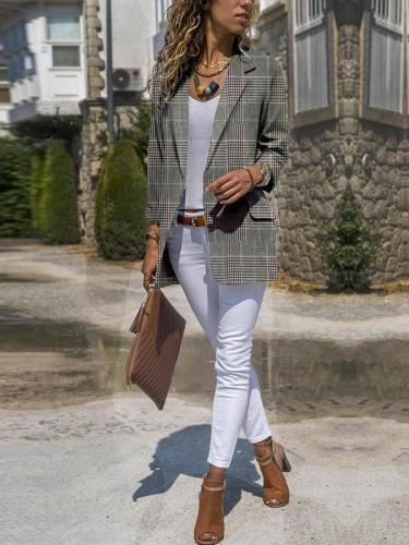 Stylish Lapel Plaid Long-Sleeve Pocket Blazer Suit