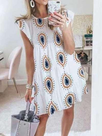 Casual Loose Print Round neck Short sleeve Falbala Shift Dresses
