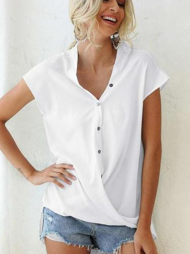 Casual Pure V neck Short sleeve Blouses
