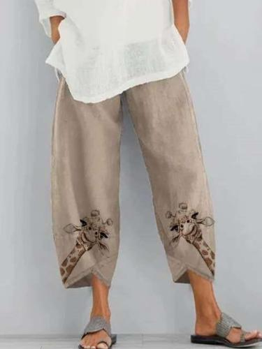 Fashion Casual Loose Print Women Pants