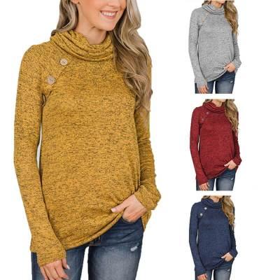 Turtle Neck Long Sleeve Button Sweatshirts