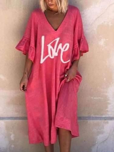 Casual Loose V neck Print Half sleeve Falbala Maxi Dresses