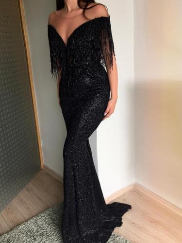 Sexy v-neck sleeveless off shoulder slim gown long evening dresses