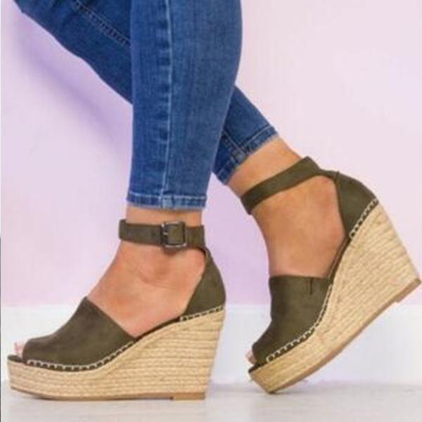 high wedges and buckles Pure Color Sandals