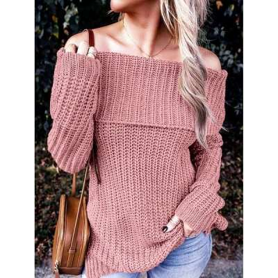 Fashion Pure One shoulder Long sleeve Knit Sweaters
