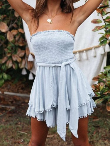 Fashion  Falbala Vest Lacing  Skater Dresses