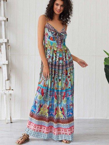 Fashion Print Vest Lacing Maxi Dresses