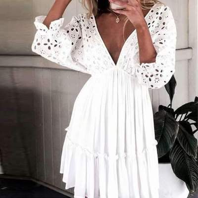 Sexy Pure Hollw out V neck Backless Skater Dresses