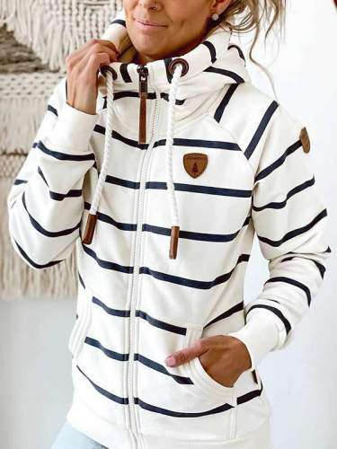 Women casual zipper stripe hoodies
