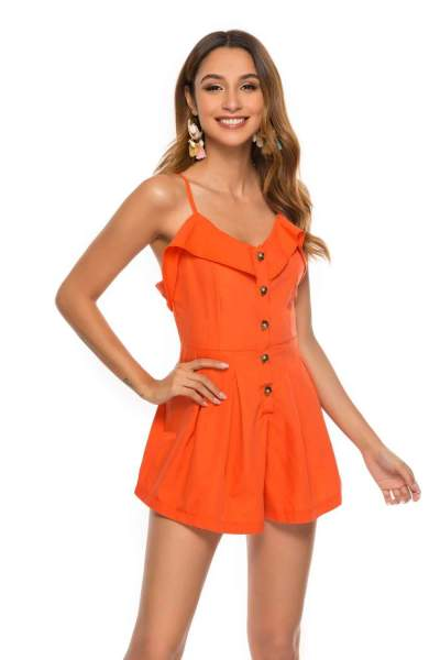 Fashion V neck Falbala Vest Jumpsuits