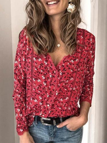 Fashionable printed lace patchwork v neck long sleeve blouses