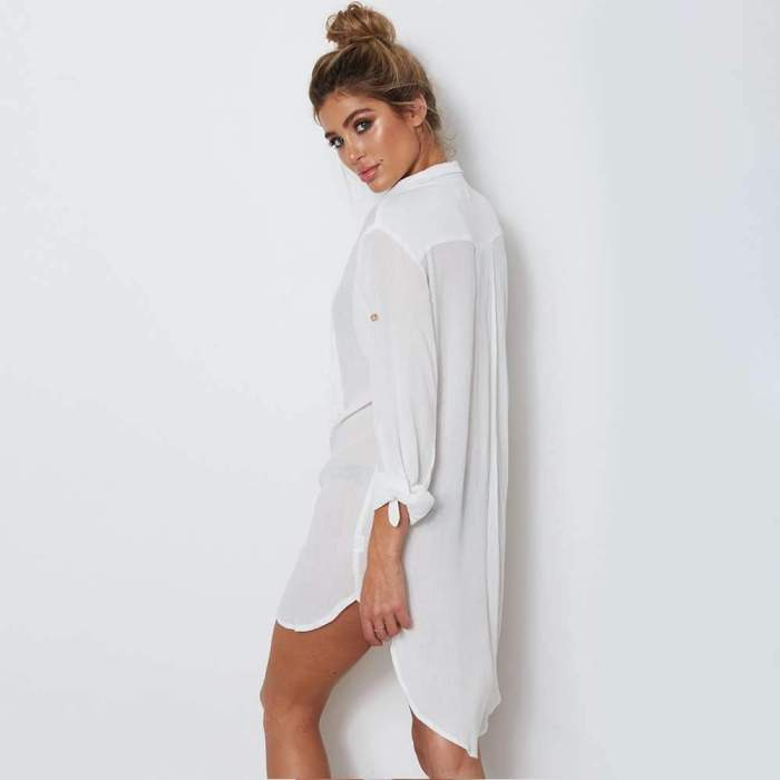 Loose Lacing V neck Long sleeve Shift Dresses