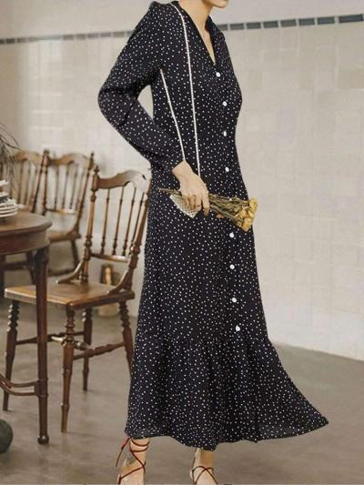Fashion Print V neck Long sleeve Gored Falbala Fastener Maxi Dresses