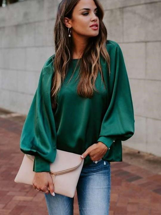 Pure Puff sleeve Round neck T-Shirts
