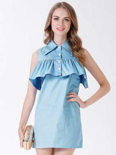 Pure Lapel Falbala Sleeveless Shift Dresses