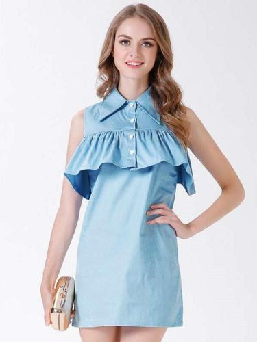 Pure Lapel Falbala Sleeveless Shift Dresses