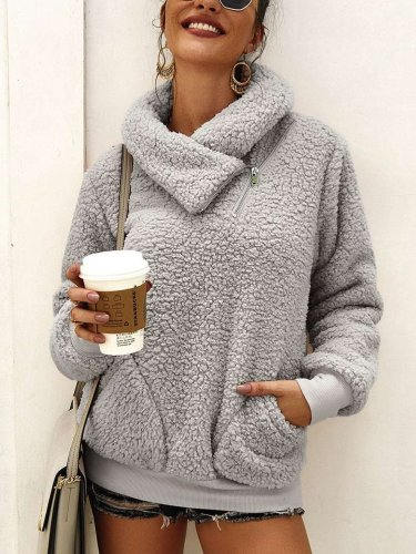 Pure High collar Thick Hoodies & Sweatshirts