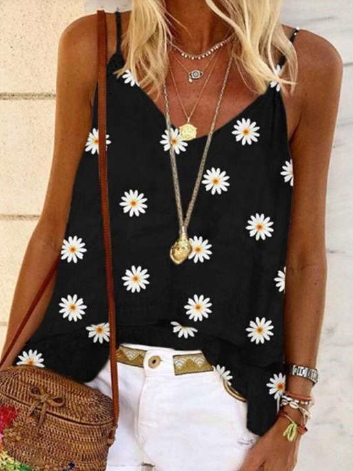 Fashion Print V neck Vests