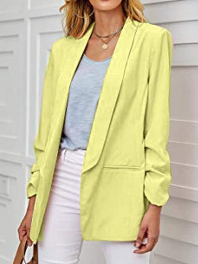 Slim long sleeve solid color turn down collar blazers