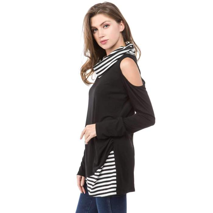 Long sleeve Stripe Gored Irregular T-Shirts