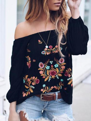 Floral Printed women off shoulder long sleeve T-shirts