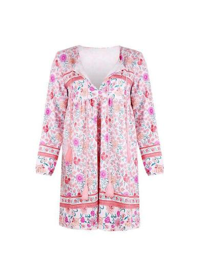 Women tie neck printed floral long sleeve shift dresses
