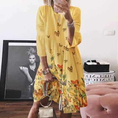 Loose Print Round neck Three quarter sleeve Maxi Dresses