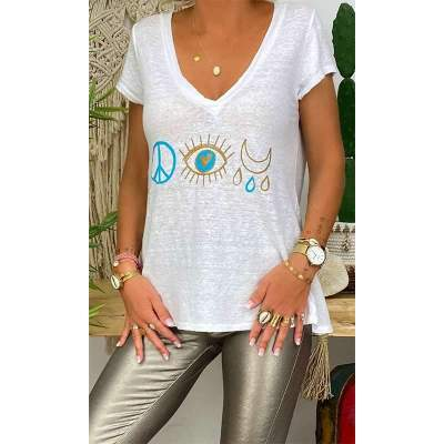 Casual V neck Print Short sleeve T-Shirts