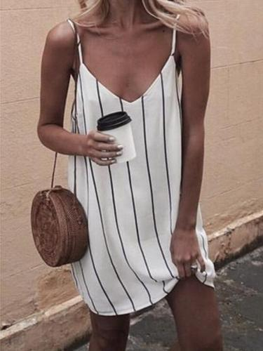Chic Summer Strip Printed White Strap Shift Dresses
