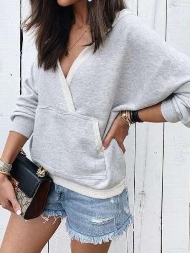 Fashion Pure V neck Long sleeve Sweatshirts