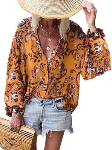 Print v-necklong sleeve versatile loose plus-size blouses