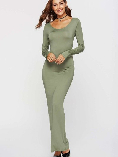 Fashion Round neck Long sleeve Long Bodycon Dresses