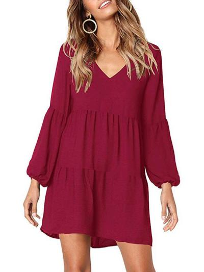 Sexy Plain Woman Long Sleeve V Neck Skater Dresses