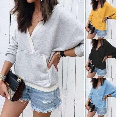 Fashion Casual Pure V neck Long sleeve Pocket Sweatshirts