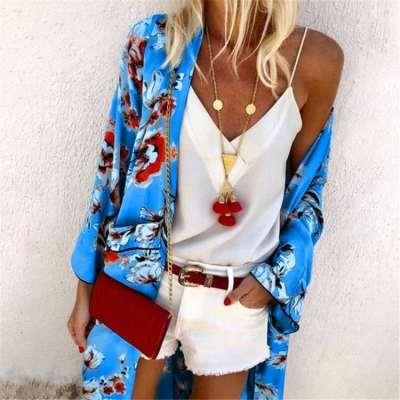 Fashion Casual Print Long sleeve Long Blouses