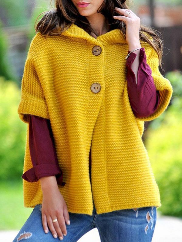 Loose knit hooded cardigan coats for autumn