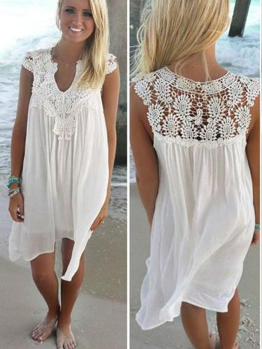 Lace Spliced Chiffon Loose Dress